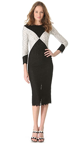 L'Wren Scott Black & White Diamond Dress