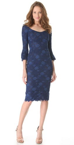 L'Wren Scott Bell Sleeve Dress with Open Neck