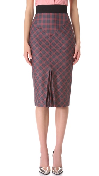 L'Wren Scott Plaid Pencil Skirt