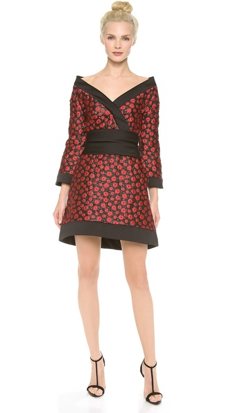 Shop L'Wren Scott online and buy L'Wren Scott Kimono Mini Dress Black/Red - This kimono inspired L'Wren Scott mini dress is cut from rich, floral jacquard and trimmed with soft satin. The wide, crossover V neckline bares the shoulders, and a hook and eye cord defines the wide satin band at the waist. The uneven hem and long bell sleeves offer a romantic finish. On seam hip pockets. Hidden back zip. Silk lining. Fabric: Floral jacquard. Shell: 75% polyester/12% silk/9% cotton/4% polyamide. Lining: 94% silk/6% elastane. Dry clean. Made in Italy. MEASUREMENTS Length: 32in / 81cm, from shoulder. Available sizes: 40,42,44