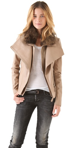 Mackage Leather Coat with Fur Collar