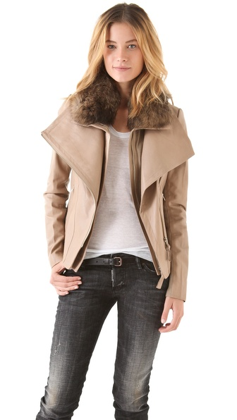 Mackage Leather Coat with Fur Collar from shopbop.com