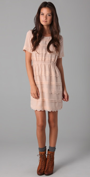 Madewell Silk Scallop Wave Dress