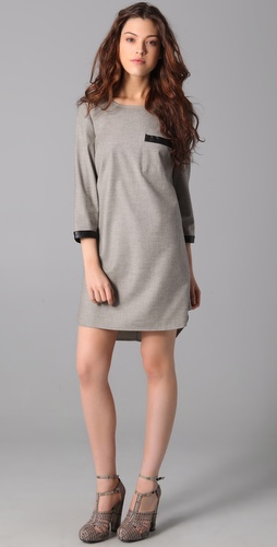 Madewell Leather Trim Attache Dress
