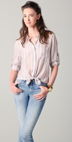 Madewell Striped Silk Boy Shirt