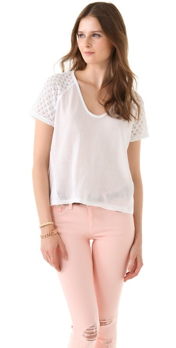 Madewell Louise Lace Sleeve Tee