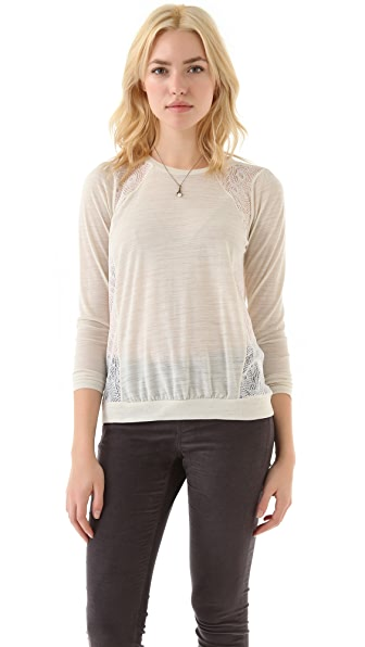 Madewell Galina Tee with Lace Shoulders
