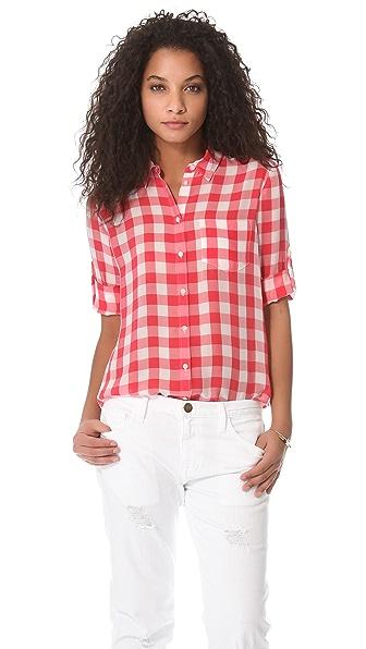 Madewell Gingham Silk Boy Shirt