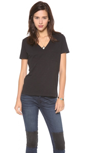 Madewell New Slub V Neck  Pocket Tee
