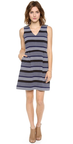 Madewell V Neck Ottoman Ridge Stripe Dress at Shopbop / East Dane