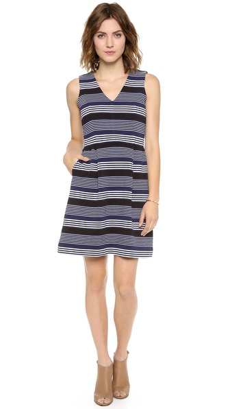 Madewell V Neck Ottoman Ridge Stripe Dress
