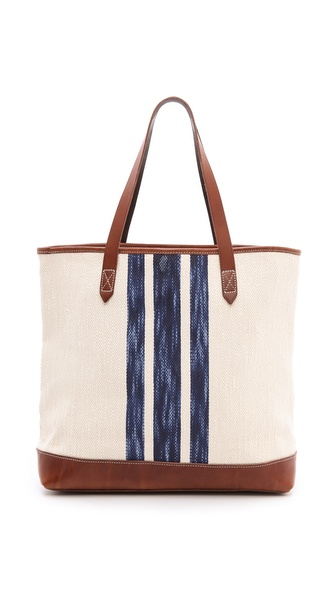 Kupi Madewell tasnu online i raspordaja za kupiti Sturdy, variegated leather lends structure to this cotton Madewell tote. The striped, lined interior has 2 patch pockets and 1 zip pocket. 2 slim handles. Leather: Cowhide. Weight: 28oz / 0.79kg. Imported, China. MEASUREMENTS Height: 13in / 33cm Length: 16in / 40.5cm Depth: 5in / 12.5cm Handle drop: 8in / 20.5cm. Available sizes: One Size