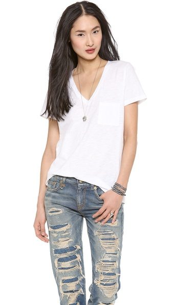 Madewell Slub V Neck Pocket Tee