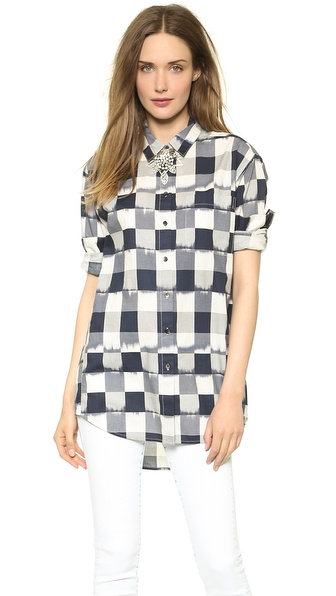 Madewell Oversized Button Down Shirt in Ikat Check