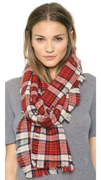 Madewell Nightglen Plaid Scarf - Heather Stone