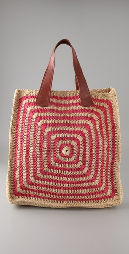 Mar Y Sol Panama Striped Raffia Tote