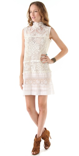Magda Berliner Hi Neck Vintage Lace Dress