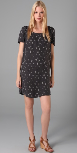 Maison Scotch Anchor Print Short Sleeve Dress