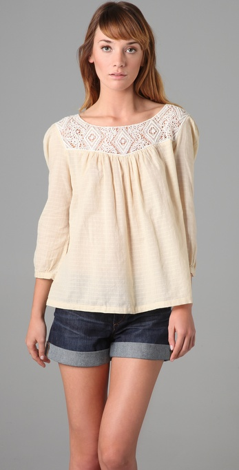 Maison Scotch Crochet Trim Top