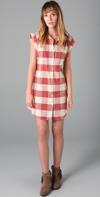 Maison Scotch Checkered Shirtdress