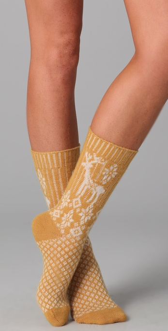 Maison Scotch Deer Print Cozy Socks
