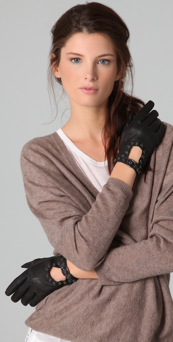 Maison Scotch Bow Leather Gloves