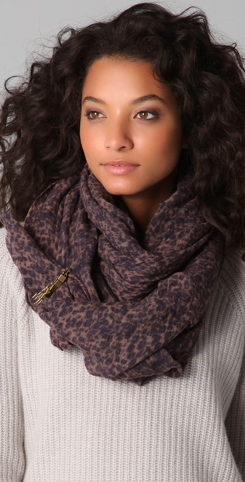 Maison Scotch Cheetah Print Scarf with Pin