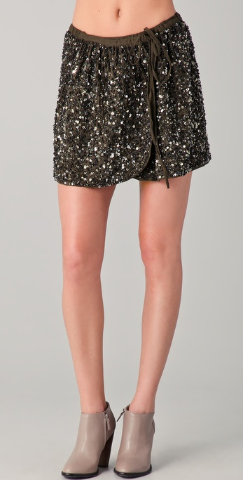Maison Scotch Adjustable Sequined Wrap Skirt