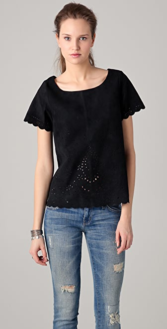Maison Scotch Laser Cutout Suede Top