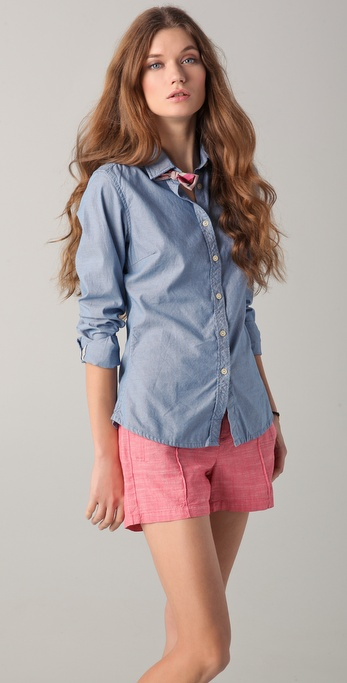 Maison Scotch Oxford Shirt with Bow Clip