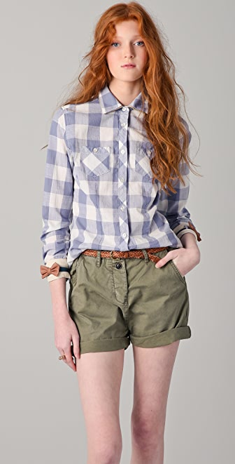 Maison Scotch Checkered Shirt with Leather Bows