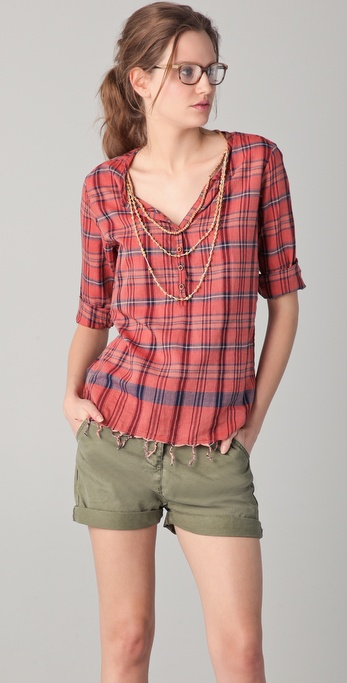 Maison Scotch Plaid Top with Necklace