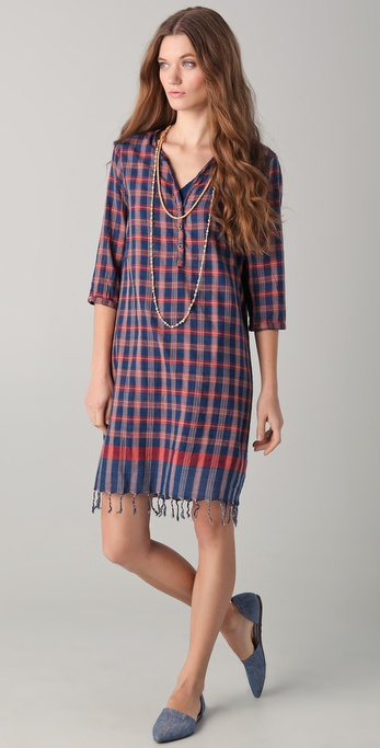 Maison Scotch Plaid Dress with Necklace
