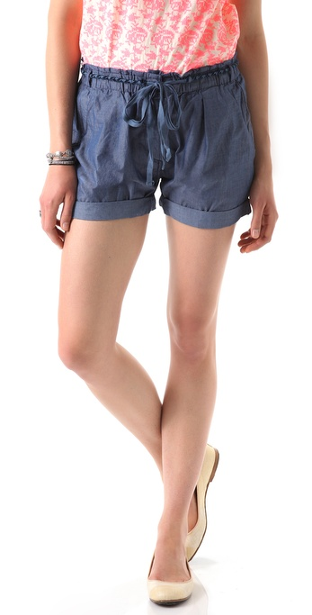 Maison Scotch Belted Chambray Shorts