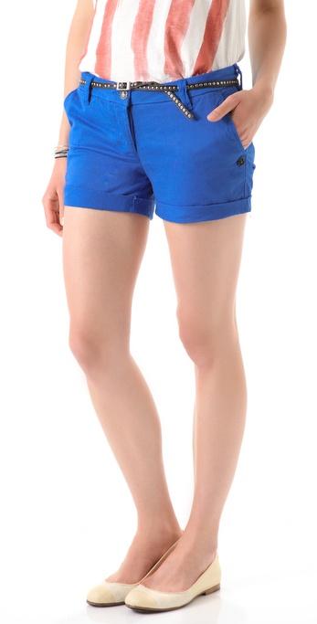 Maison Scotch Belted Twill Shorts