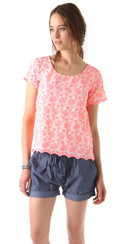 Maison Scotch Fluoro Embroidered Top