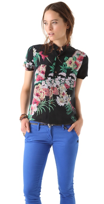Maison Scotch Hawaii Print Blouse