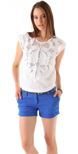Maison Scotch Mesh & Lace Embroidered Top