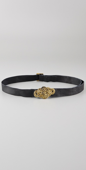 Maison Scotch Twisted Metal Buckle Leather Belt