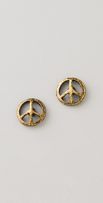 Maison Scotch Peace Sign Earrings