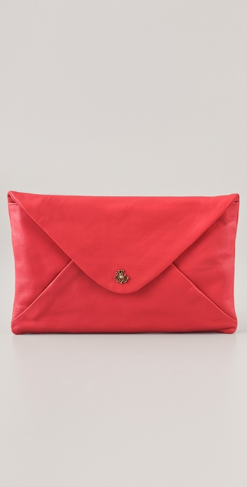 Maison Scotch Washed Leather Envelope Clutch