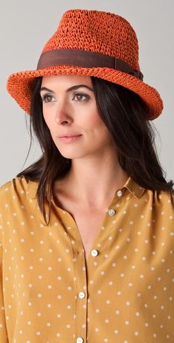 Maison Scotch Straw Trilby Hat with Sash