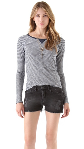 Maison Scotch Long Sleeve Striped Tee
