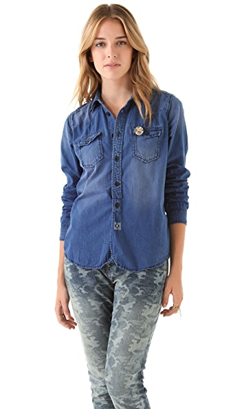 Maison Scotch Chambray Button Down Shirt