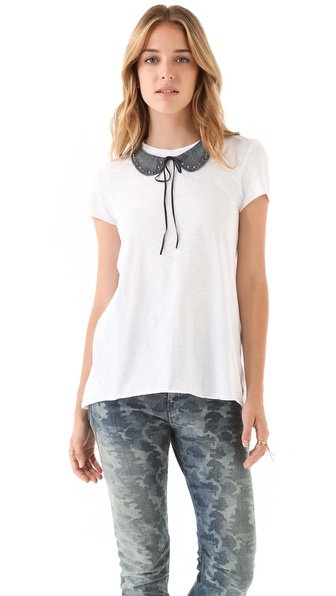 Maison Scotch Short Sleeve Tee with Detachable Chambray Collar