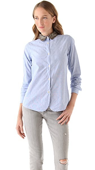 Maison Scotch Sequined Collar Shirt