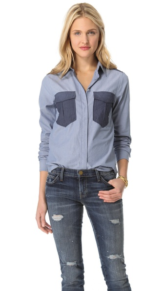 Maison Scotch Washed Chambray Shirt