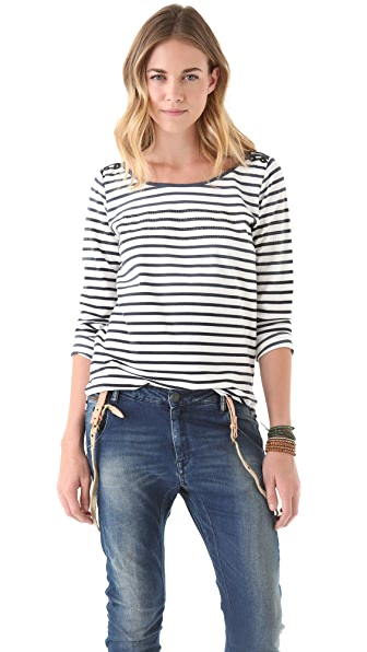 Maison Scotch Stripe Crew Neck Shirt