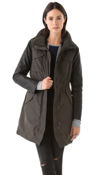 Maison Scotch Nylon Parka with Faux Leather Sleeves