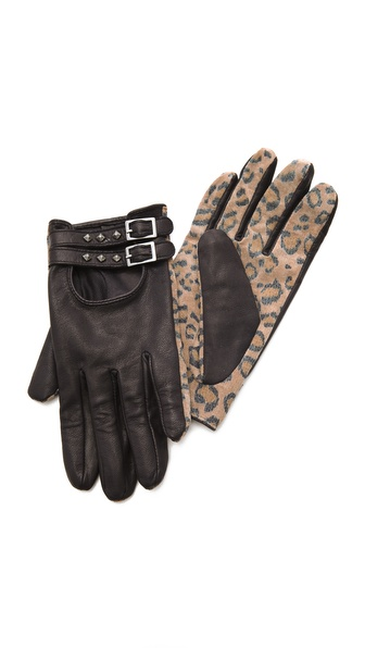 Maison Scotch Leopard Print Gloves